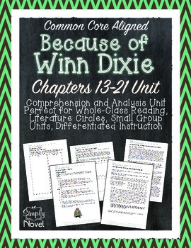 Because of Winn-Dixie Chapters 13-21 Questions, Quizzes, Novel Study Unit