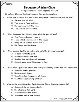 Because of Winn Dixie Test - Chapters 16-20