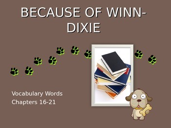 Because of Winn Dixie Chapters 16-21 Vocabulary PowerPoint