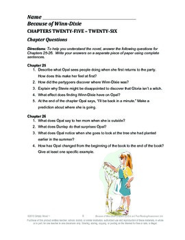 Because of Winn-Dixie Chapters 22-End & Post-Reading Questions, Quizzes