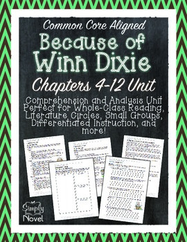 Because of Winn-Dixie Chapters 4-12 Questions, Quizzes, No