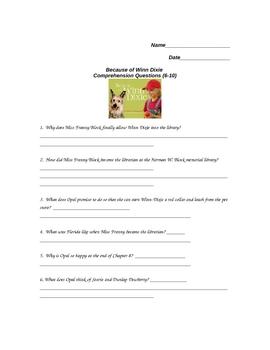 Because of Winn Dixie Chapters 6-10 Quiz/Vocab Activities