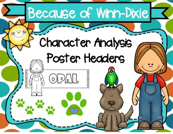 Because of Winn-Dixie Character Analysis Poster Headers