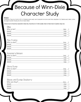 Because of Winn-Dixie Character Study Chapters 6-12