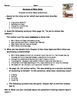 Because of Winn Dixie Common Core PARCC like Assessment ch. 3 & 4
