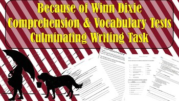 Because of Winn Dixie Comprehension & Vocabulary Tests; Culminating Writing Task