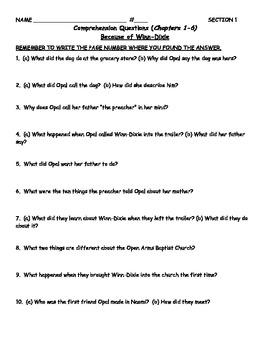 Because of Winn Dixie (DiCamillo) - Novel Study