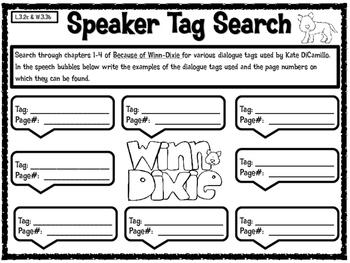 Because of Winn-Dixie Dialgue Speaker Tag Scavenger Hunt