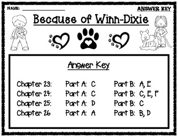 Because of Winn-Dixie EBSR Comprehension Question Sets for Chapters 23-26