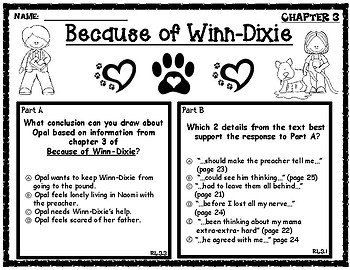 Because of Winn-Dixie EBSR Comprehension Questions Chapters 1-4