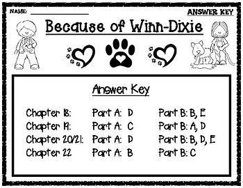 Because of Winn-Dixie EBSR Comprehension Questions Chapters 18-22