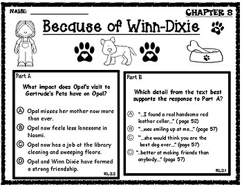 Because of Winn-Dixie EBSR Comprehension Questions Chapters 5-8