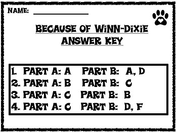 Because of Winn-Dixie EBSR Comprehension Questions Chapters 9-12