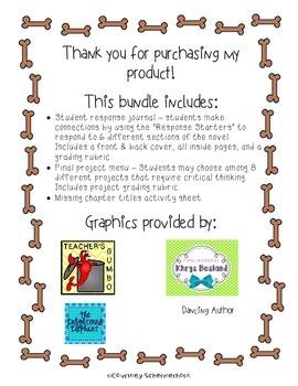 Because of Winn-Dixie Activities: Response Journal, Project Menu, Chapter Titles