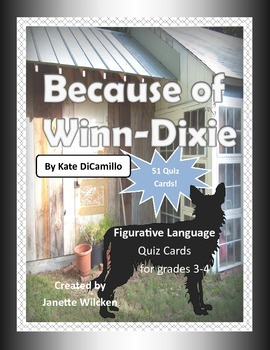 Because of Winn-Dixie Figurative Language Quiz Cards