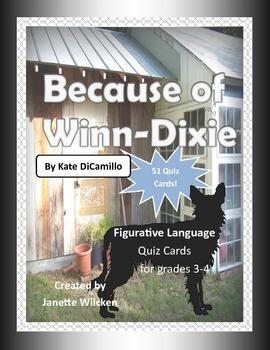 Because of Winn-Dixie Figurative Language Quiz Cards