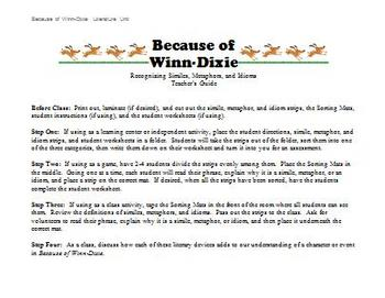 Because of Winn-Dixie - Identifying Similes, Metaphors, and Idioms