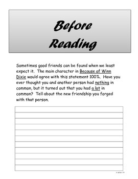 Because of Winn-Dixie Independent Reading Project