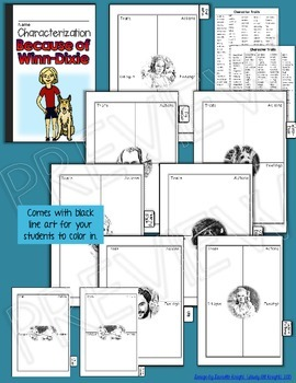 Because of Winn-dixie: Interactive Notebook Characterization Mini Flip