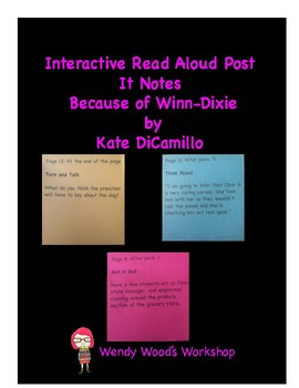 Because of Winn-Dixie Interactive Read Aloud Post It Notes