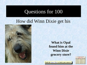 Because of Winn Dixie Jeopardy