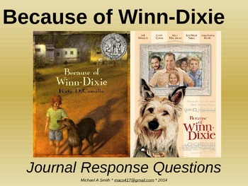 Because of Winn-Dixie - Journal Response Questions - Kate DiCamillo