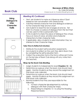 Because of Winn-Dixie Lesson Plan (Book Club Format-Character Development) CCSS