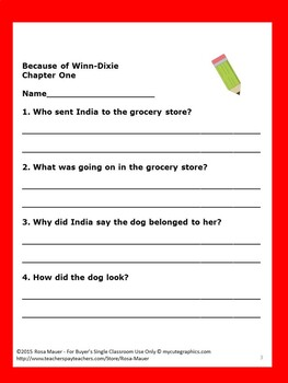Because of Winn-Dixie Reading Comprehension