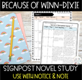 Because of Winn Dixie Novel Study Notice and Note Signposts