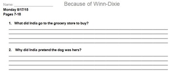 Because of Winn Dixie Novel Assignment