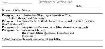 Because of Winn Dixie Novel Assignment