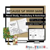 Because of Winn-Dixie Novel Study PDF and Google Slides™ Link