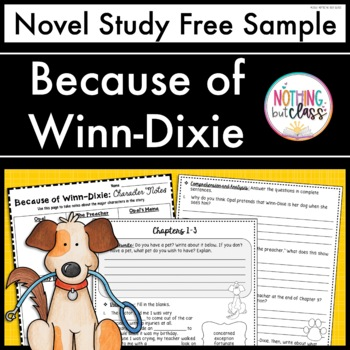 Because of Winn-Dixie Novel Study Unit: FREE Sample