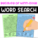 Because of Winn Dixie Novel Study Word Search