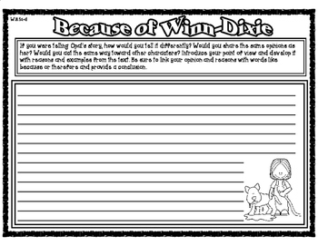 Because of Winn-Dixie Opinion Writing Exemplar and Writing Prompt with Checklist