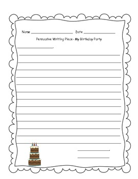 Because of Winn Dixie Persuasive Writing- Birthday Party with Graphic Organizer