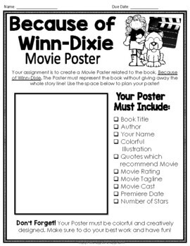 Because of Winn-Dixie Project: Create a Movie Poster!