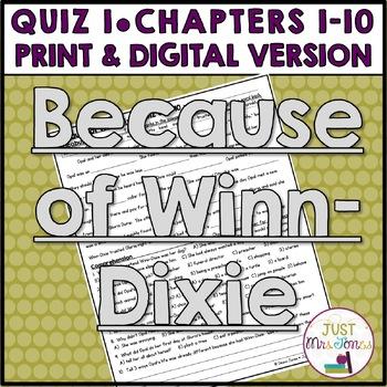 Because of Winn-Dixie Quiz 1 (Ch. 1-10)