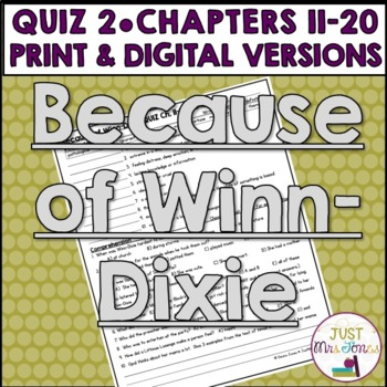 Because of Winn-Dixie Quiz 2 (Ch. 11-20)