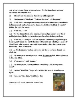 Because of Winn Dixie Reading Assessment