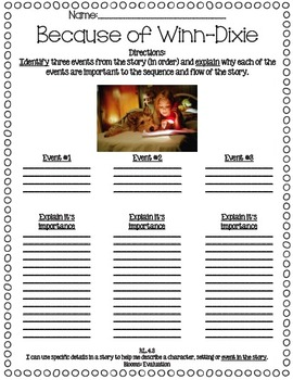Because of Winn-Dixie Reading Street Differentiated Sequencing Activities