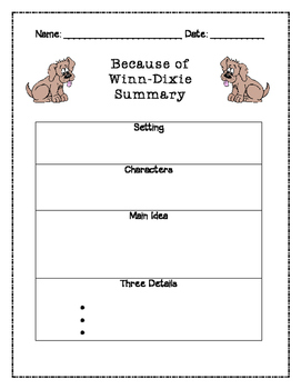 Because of Winn-Dixie Summary Graphic Organizer