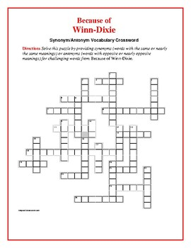 Because of winn dixie synonymantonym vocabulary crosswordunique ccuart Images
