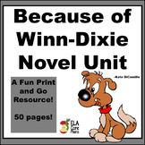 Because of Winn Dixie Novel Unit, Activities, Handouts, Tests Plus Signposts!