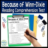 Because of Winn-Dixie Test: Final Book Quiz with Answer Key