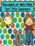 Because of Winn-Dixie Text Title Summary Graphic Organizer Booklet