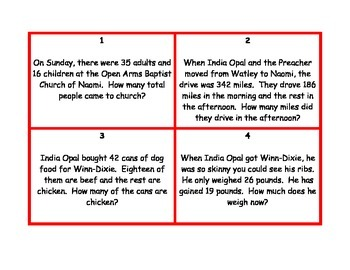 Because of Winn Dixie Themed Addition and Subtraction Scoot