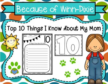 Because of Winn-Dixie Top 10 Things I Know About My Mom Activity