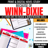 Because of Winn Dixie Novel Study Unit