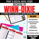 Because of Winn Dixie Novel Unit + Digital Novel Study for